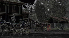 Horse and buggy across a courtyard graced with statues, glowing edges effect. Stock Footage