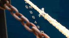 Boat Ship Bow Hull Rope Numbers Chain - stock footage