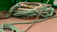 Boat Ship Bow Hull Rope Rigging - stock footage