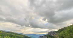 Clouds over the Grand Canyon of Crimea. Time Lapse. Natural HDR Stock Footage