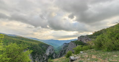 Sunset over the Grand Canyon of Crimea. Time Lapse. Natural HDR Stock Footage
