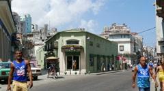 Havana Cuba San Miguel and Neptuno Streets Stock Footage