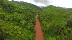 Aerial - Whitewater rapids river in forest Thailand. - stock footage