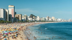Crowded Ipanema Beach full of people in Rio De Janeiro Stock Footage