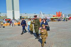 Zelenograd, Russia - May 09.2016. People in uniform of World War II at the ce Stock Photos