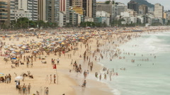 Crowded Ipanema Beach full of people in Rio De Janeiro, Brazil. Stock Footage