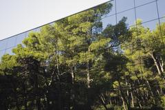 Pine tree forest reflected in modern glass clad building Stock Photos