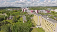 Establishing shot, modern building,  headquarters, hospital, etc. aerial view. Stock Footage