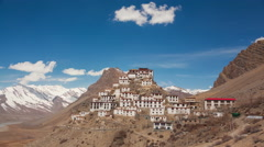 Key Gompa Time Lapse Clouds Stock Footage