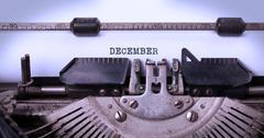 Old typewriter - December - stock photo