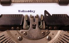 Wednesday typography on a vintage typewriter Stock Photos