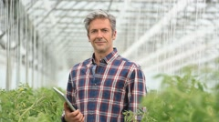 Closeup of agricultural engineer in greenhouse Stock Footage
