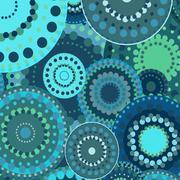 vintage circular retro ornament vector background blue - stock illustration