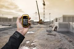 Finding the right position inside a construction site via gps Kuvituskuvat
