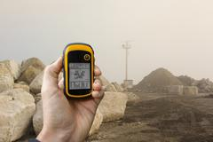 finding the right position inside a construction site via gps - stock photo