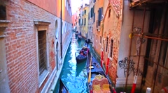 Romantic tour in gondola, venice canal, italy Stock Footage