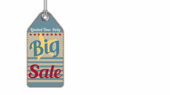 Vintage style sale tags Big Sale, 4K Advertisement for a huge sale. Stock Footage