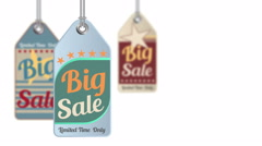 Vintage style sale tag Big Sale, animation 4K Stock Footage