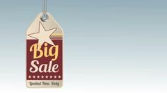 Vintage style sale tag Big Sale, animation 4K - stock footage