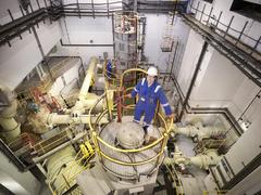 Portrait of engineer in seawater pumping station of power station, high angle Stock Photos