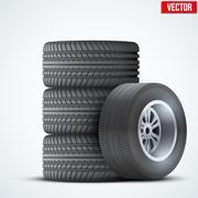 Car tires and wheel at warehouse - stock illustration