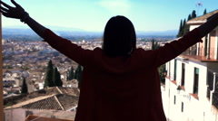 Young woman admire view and stretching arms, super slow motion 240fps - stock footage