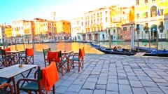 Venice, italy. beautiful square near rialto bridge Stock Footage