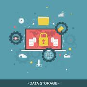 Data storage flat concept. Vector illustration. - stock illustration