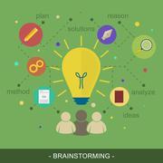 Brainstorming ideas vector illustration flat concept. Stock Illustration