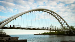 4k Timelapse of The Humber Bay Arch Bridge Stock Footage