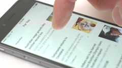 IPhone news app Stock Footage