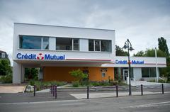 """""""credit mutuel"""" french bank agency - stock photo"""