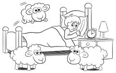 Sheep jumping over the bed of a sleepless man Stock Illustration