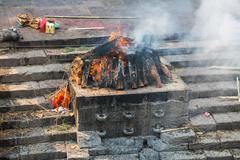 KATHMANDU, NEPAL-APRIL 25: Cremation in Pashupatinath 25, 2016 in Kathmandu,  Stock Photos