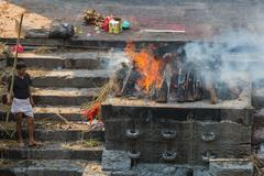 KATHMANDU, NEPAL-APRIL 25: Cremation in Pashupatinath 25, 2016 in Kathmandu,  - stock photo