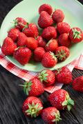 strawberries on the plate - stock photo