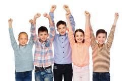 happy children celebrating victory - stock photo