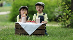 Two beautiful children, boy brothers, eating strawberries and cookies Stock Footage