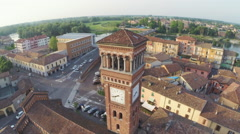 Clock Tower in Lodi, Italy. Aerial Pan Stock Footage