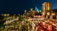 Time Lapse Dubai Skyline at night Stock Footage