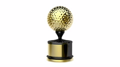 Gold trophy with golf ball - stock footage