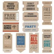 Vintage Tickets in different style - stock illustration