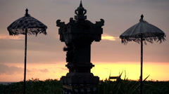 Traditional balinese sculpture during sunset, super slow motion 120fps Stock Footage