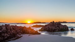 Time-lapse of Pebble Beach 17 mile drive at sunset Stock Footage