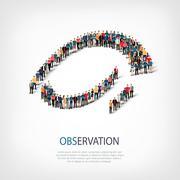 Observation people sign 3d Stock Illustration