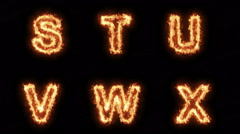 Burning Letters S T U V W X Y Z , Letters on Fire Six in One Pack  , Ultra HD 4K Stock Footage