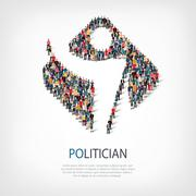Politician people sign 3d Stock Illustration