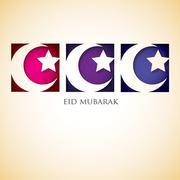 "Crescent moon ""Eid Mubarak"" (Blessed Eid) card in vector format. Stock Illustration"