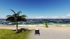 3D Surfer on the beach Stock Footage