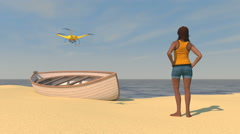 Female figure on a beach waiting for a UAV drone, 3D animation - stock footage